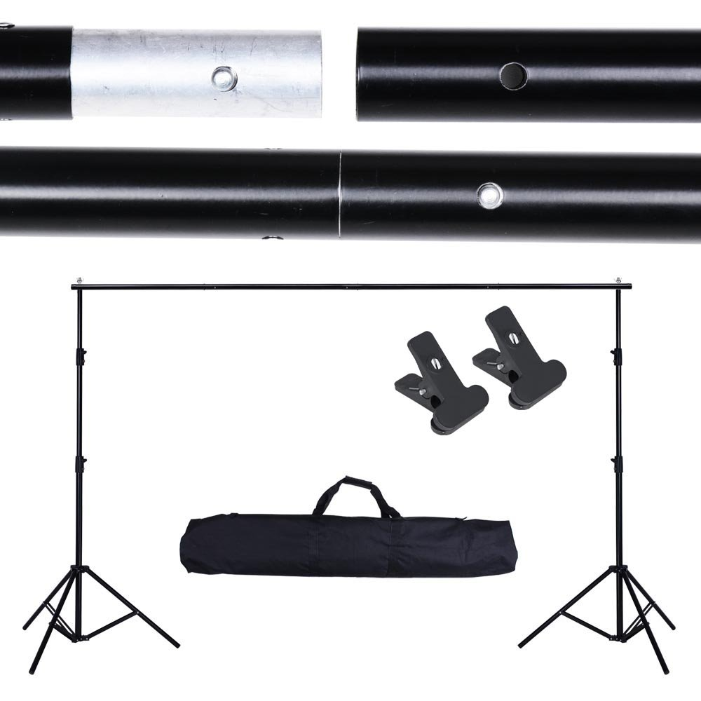 AW 10ft Adjustable Photography Background Support Stand Portable Photo Backdrop Crossbar Kit with Carrying Bag by AW