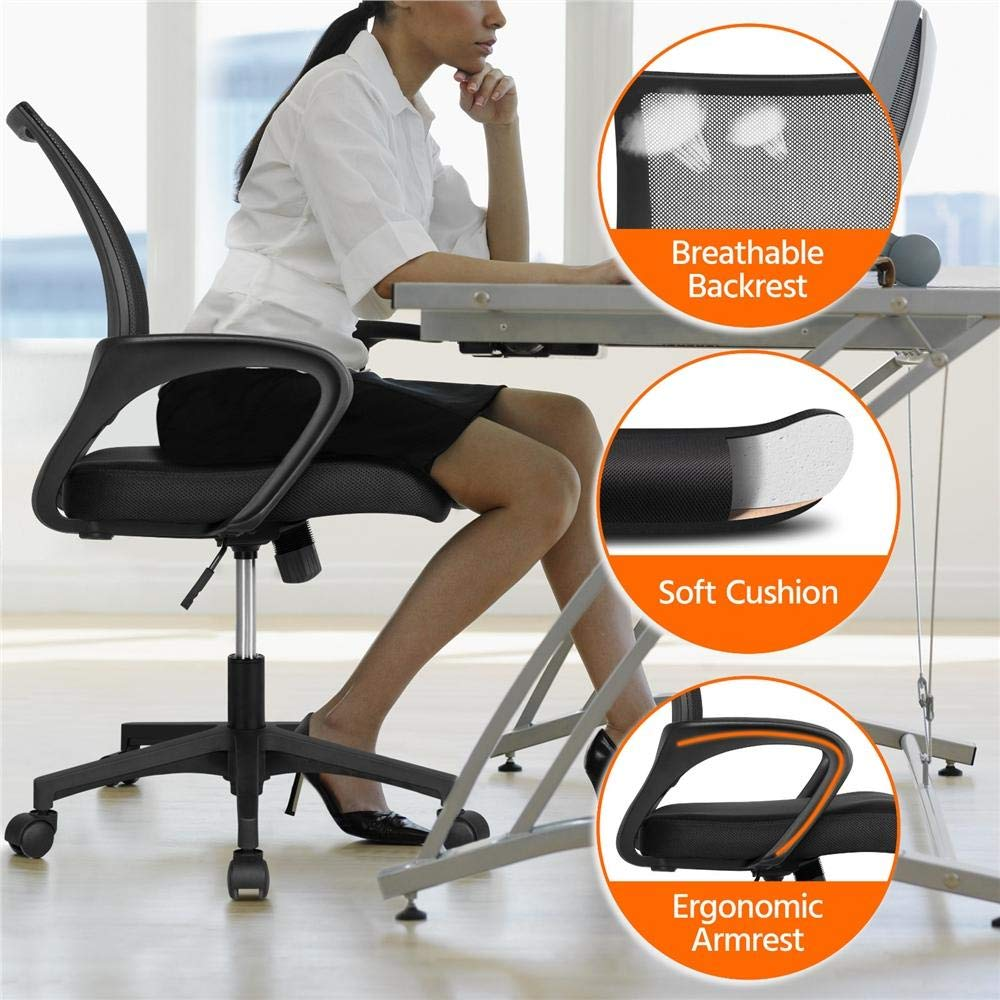 Yaheetech Office Chair Ergonomic Computer Chair Mid Back Mesh Desk Chair Lumbar Support Modern Executive Adjustable Stool Rolling Swivel Chair, Black by Yaheetech (Image #2)
