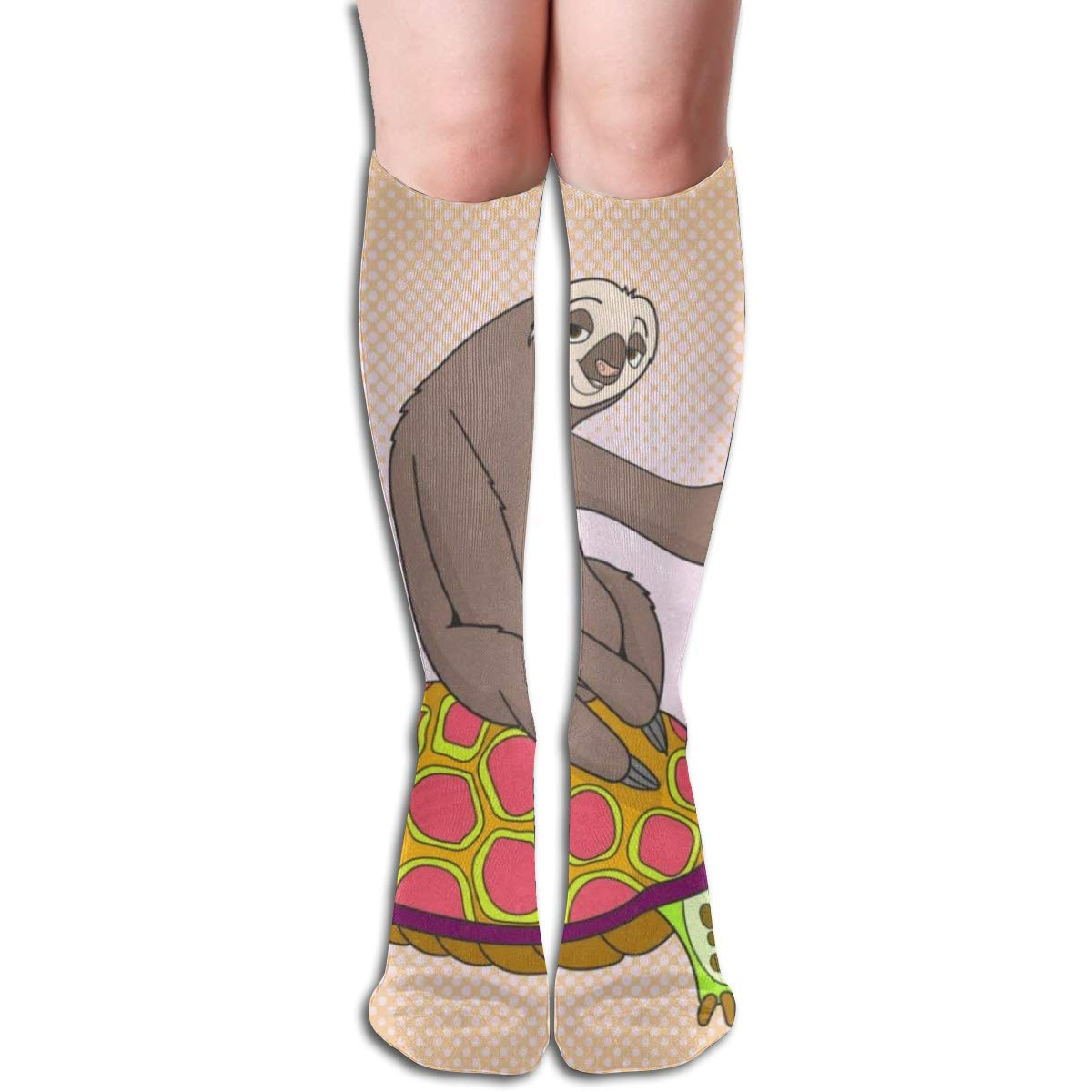 Stretch Stocking Funny Sloth Riding Turtle Soccer Socks Over The Calf Great For Running,Athletic,Travel