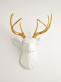 White Faux Taxidermy The Alfred White Resin Deer Sculpture Head with  Metallic Gold Faux Antlers Wall