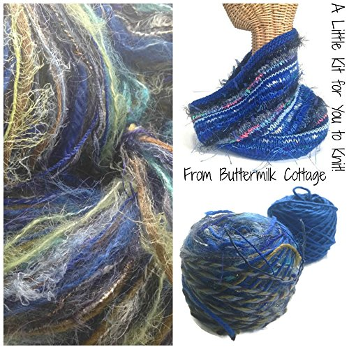Boutique Yarn Cowl Knitting Kit Blue