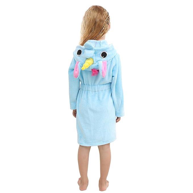 db454a82da Toddlers Kids Hooded Robe Soft Fleece Unicorn Bathrobe Children s Pajamas  Baby Plush Robe (Blue