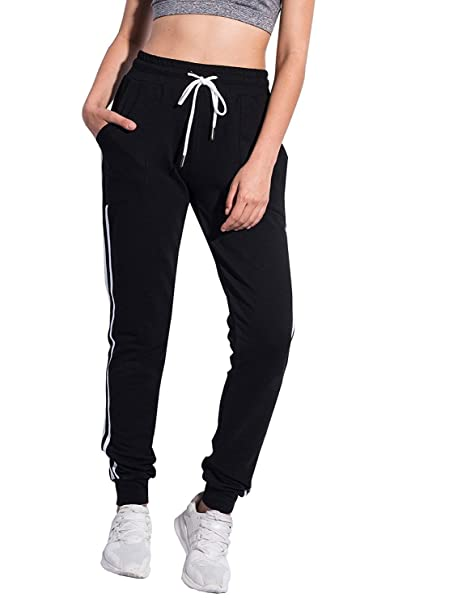 13c3a3357e31a7 SUNNYME Women's Sweatpants Color Block Workout Athletic Yoga Joggers Pants  with Pockets Z-Black at Amazon Women's Clothing store:
