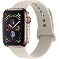 RUOQINI Compatible with Apple Watch Band 38mm 42mm 40mm 44mm,Sport Silicone Soft Replacement Band