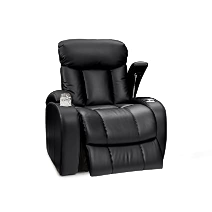 Seatcraft Sausalito Leather Gel Manual Home Theater Recliner With In Arm  Storage, Black