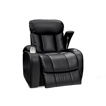 Seatcraft Sausalito Leather Gel Manual Home Theater Recliner with in-Arm Storage, Black