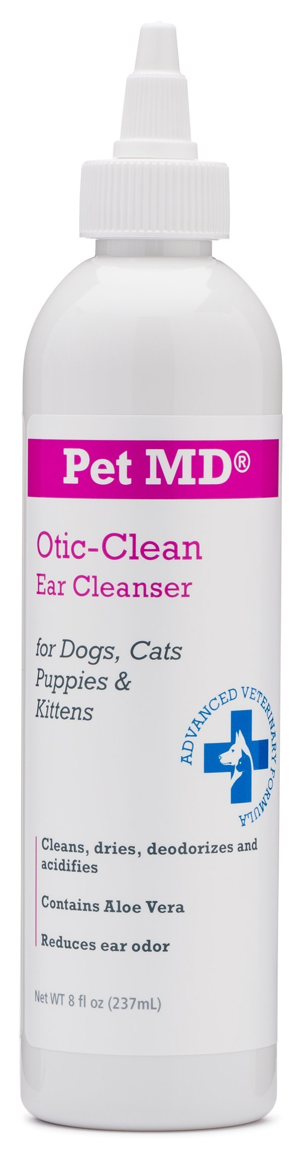 Pet MD Otic Clean Dog Ear Cleaner for Cats and Dogs - Effective Against Infections Caused by Mites, Yeast, Itching and Controls Odor - 8 oz