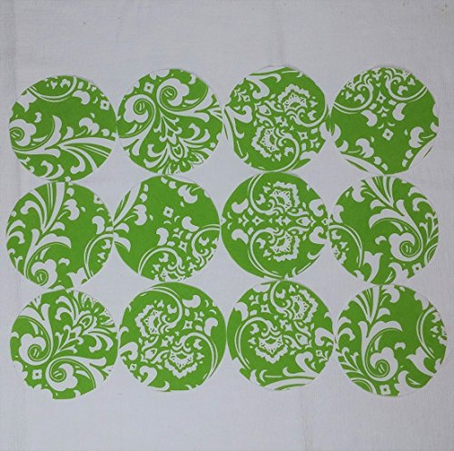 Green Damask Cotton Jar Topper Set, Dozen (12), Handcrafted Fabric Circles YoYo