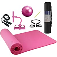 Lixada Yoga träningskit 4 st yogamattset med yogamatta, pilates boll, ankeldragare och hopprep med bärrem och…