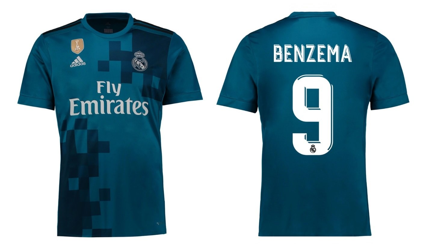 Trikot Kinder Real Madrid 2017-2018 Third WC - Benzema 9