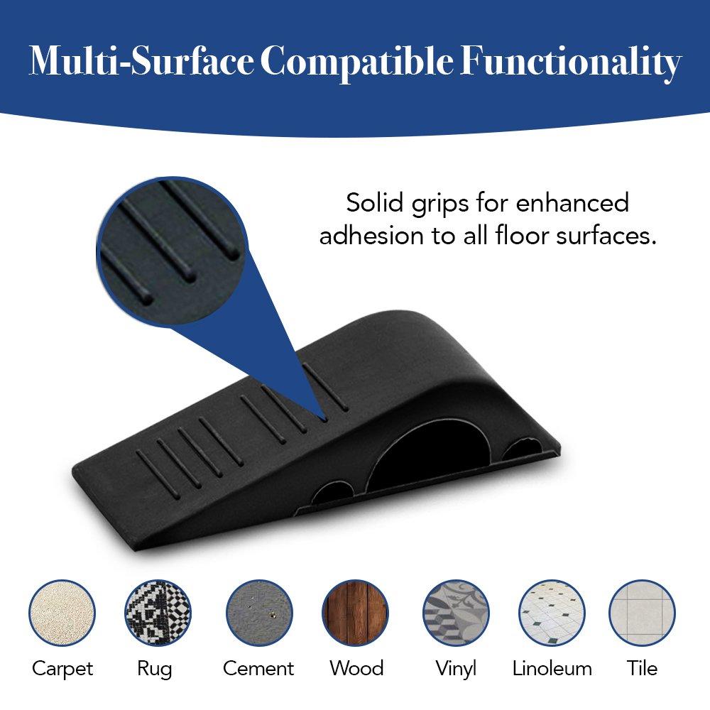 Door stopper, Strong and Flexible Premium Grey Rubber Door Stop Wedge Non-Toxic Odorless Doorstops (5 Pack) DNJ Greenbriar 4335411916