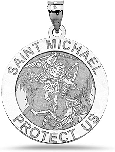 PENDANT MADE IN ITALY SOLID 18K YELLOW GOLD SAINT MICHAEL ARCHANGEL 15 MM MEDAL