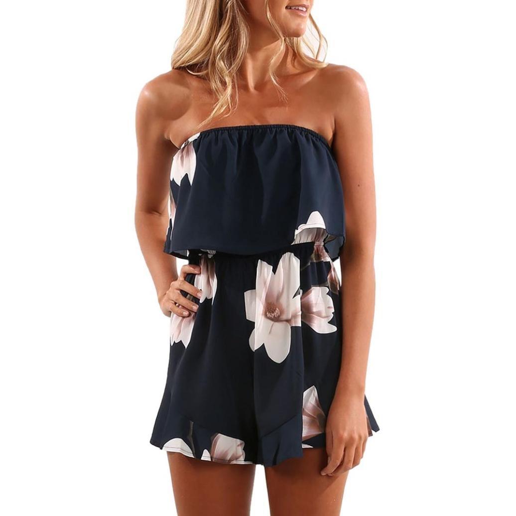 Amazon.com: Teresamoon Floral Print Jumpsuit, Womens Off Shoulder Mini Playsuit Ladies Shorts Jumpsuit: Clothing