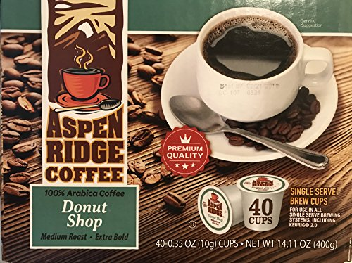 (Aspen Ridge Coffee K Cups - Donut Shop Single Serve Coffee Medium Roast, Extra Bold - 40 Count (Compatible with 2.0 Keurig Brewers))