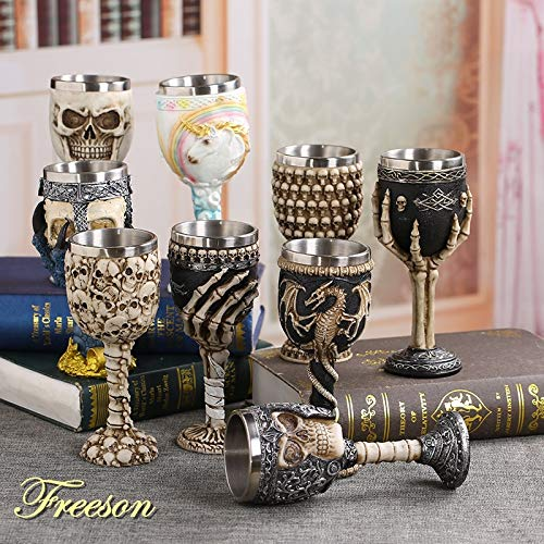 Best Quality - Wine Glasses - Coolest Gothic Resin Stainless Steel Dragon Skull Goblet Retro Claw Wine Glass Cocktail Glasses Whiskey Cup Party Bar Drinkware - by LINAE - 1 PCs