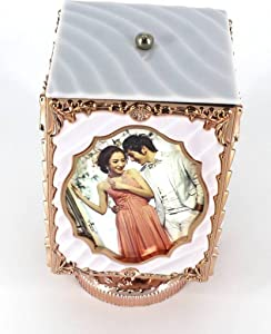 Atorakushon Musical Rotating 4 Photos Frame Magical Key Operated Photo Cube Frame Home Decor and Lovely & Unique Gift