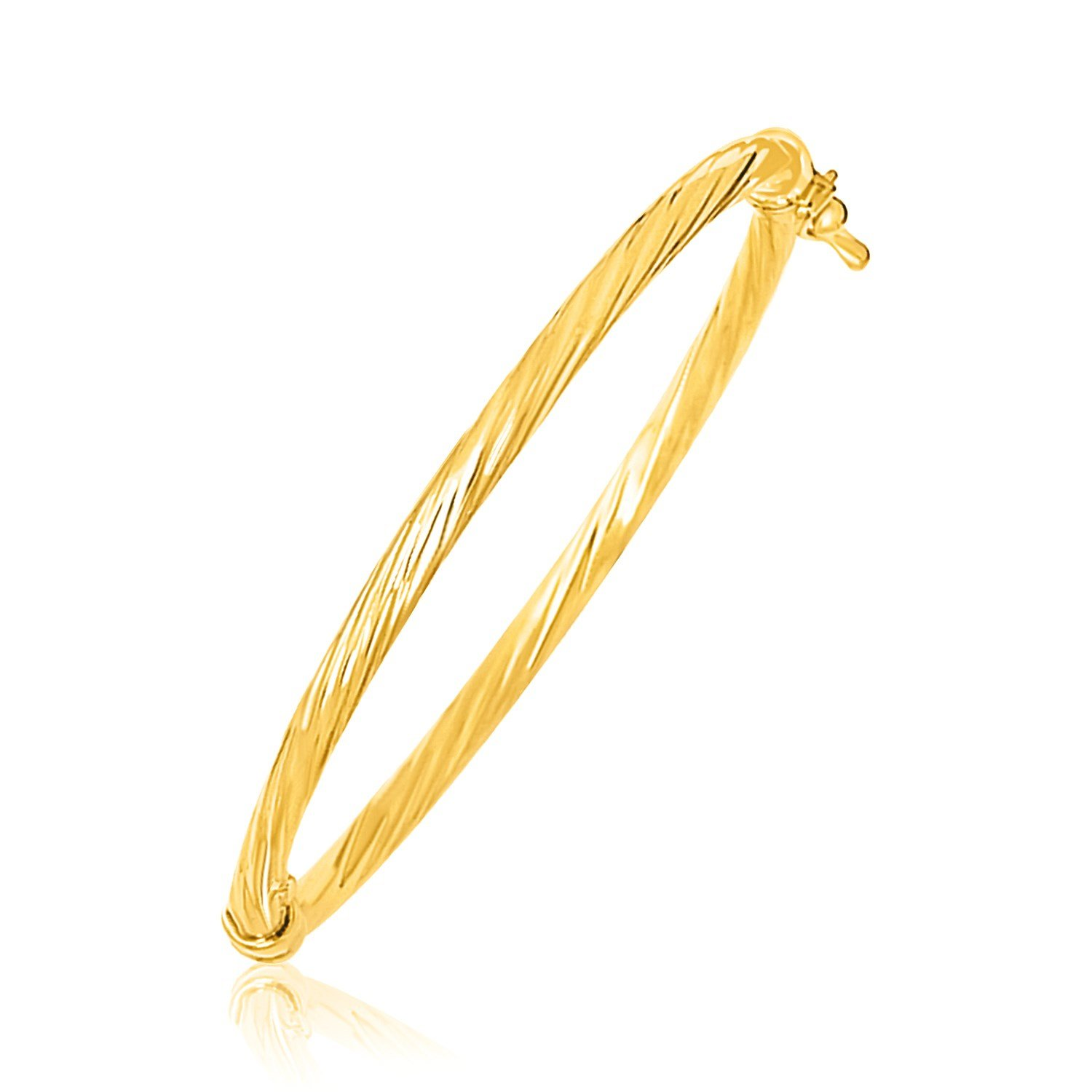 BunnyBerry Gifts 14K Yellow Gold Childrens Bangle with Spiral Motif Style
