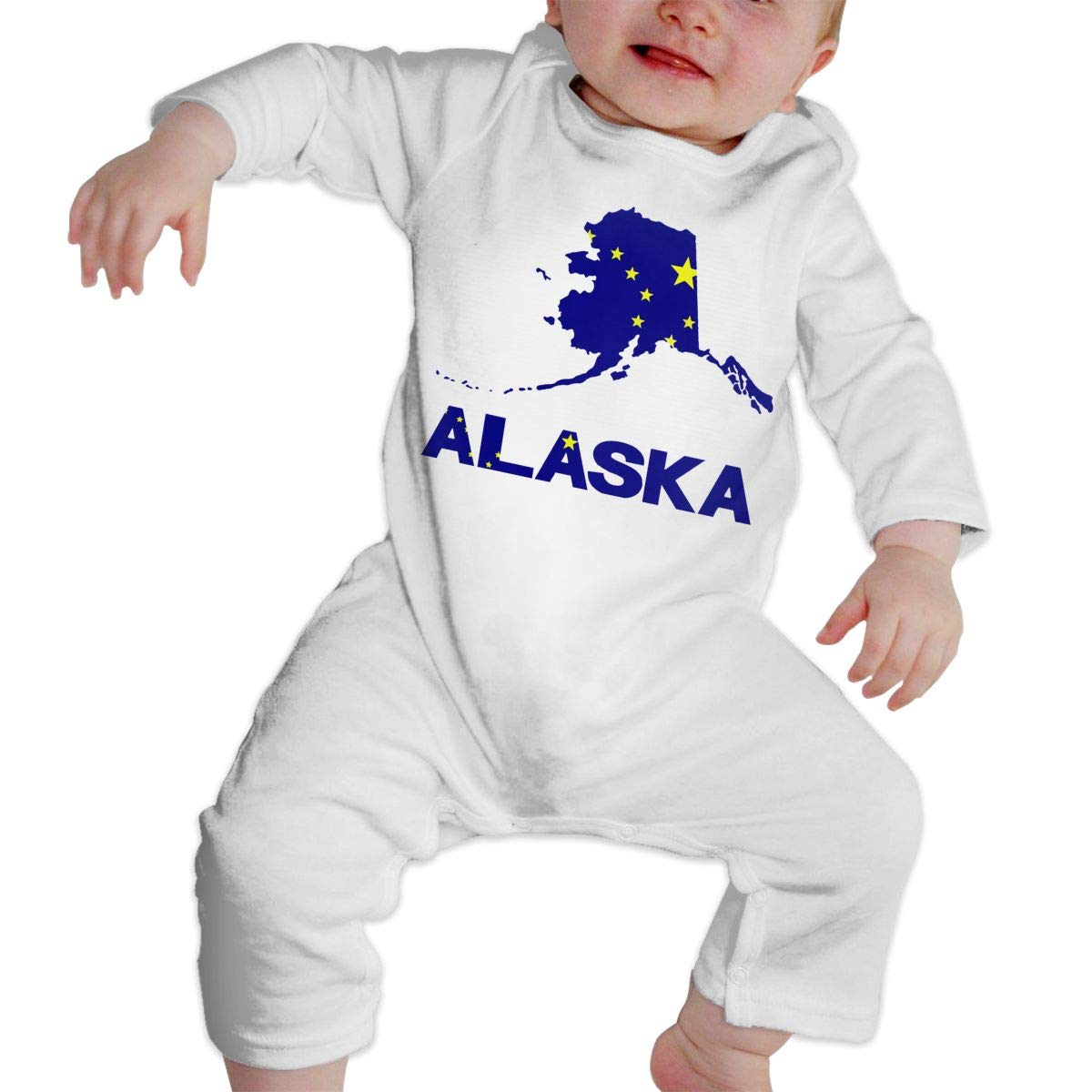 A1BY-5US Newborn Baby Boys Girls Cotton Long Sleeve Alaska Map Flag and Text Jumpsuit Romper One-Piece Romper Clothes