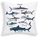 Yastouay Sharks Pillow Cover Sealife Throw Pillow Cover Marine Theme Decorative Cushion Cover 18 X 18 Inch for Sofa Couch Bed