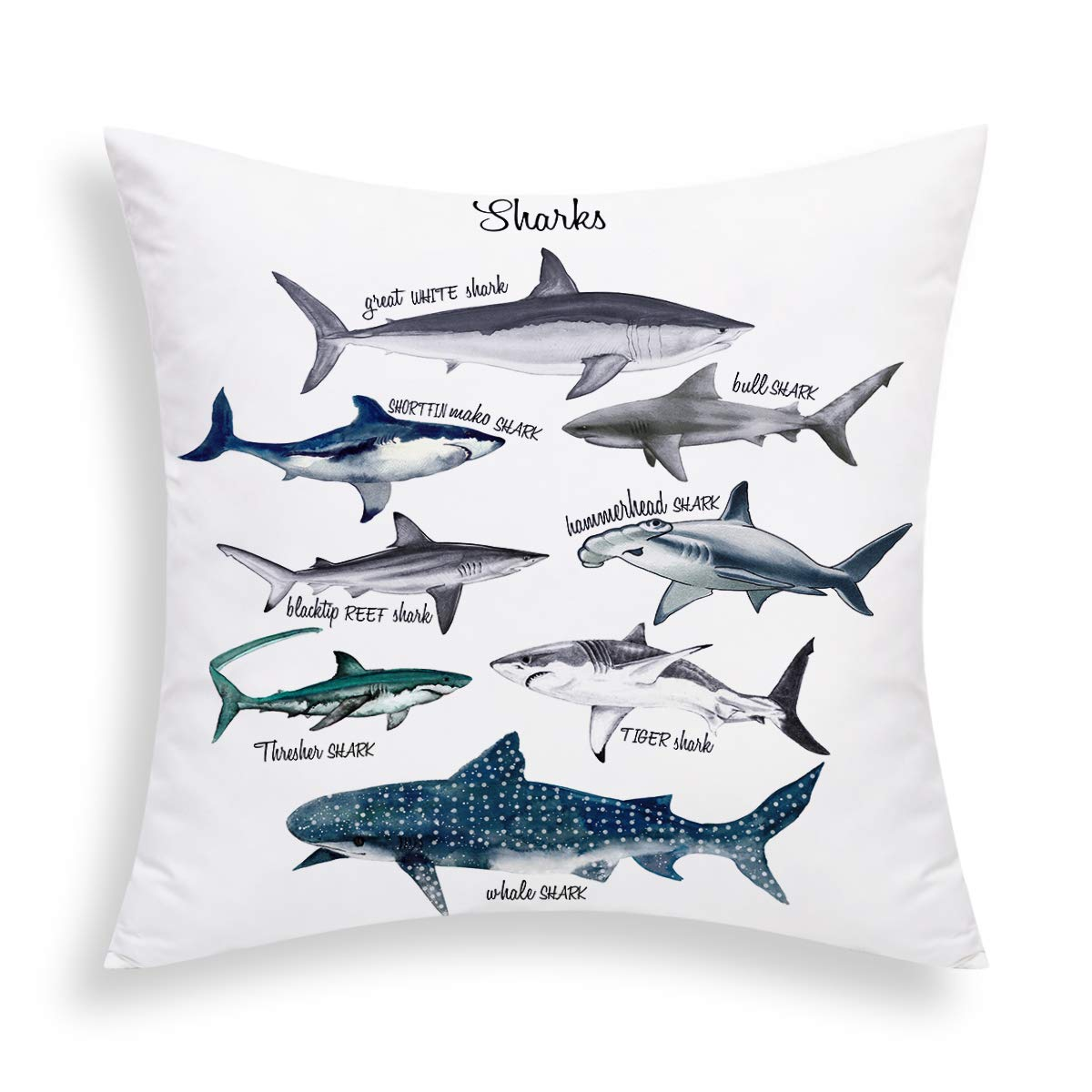 BLEUM CADE Sharks Pillow Cover Sealife Throw Pillow Cover Marine Theme Decorative Cushion Cover 18 X 18 Inch for Sofa Couch Bed and Car