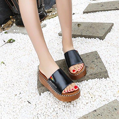 Dicke Hintern Schuhe Einfache Schwarz High Schuhe Schuhe QPSSP Sandalen Sandalen 39 Worte Heels Damen Strand wpFAxqX