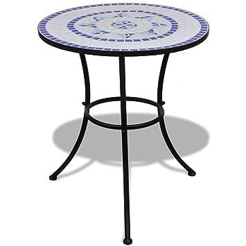 Anself Table mosaïque 60 cm coloris bleu / blanc: Amazon.fr ...