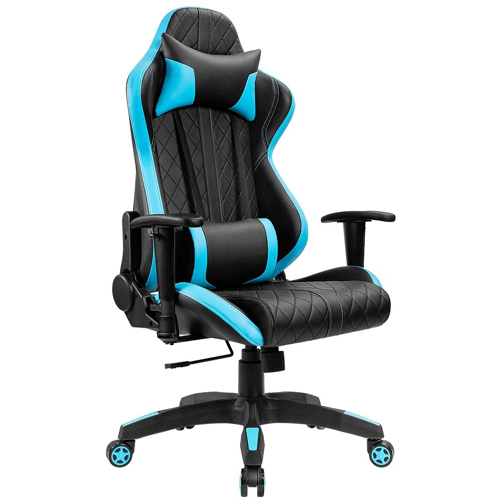 Furmax High Back Gaming Chair Computer Chair Ergonomic Design Racing Style Chair Premium Leather Lumbar Support Swivel Executive Esports Office Chair (Dream Blue)