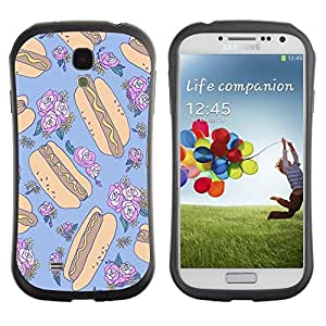 "iFace Series Tpu Silicona Carcasa Funda Case Para SAMSUNG Galaxy S4 IV / i9500 / i9515 / i9505G / SGH-i337 , ( Hotdog Loco floral Random Azul Alimentos"" )"