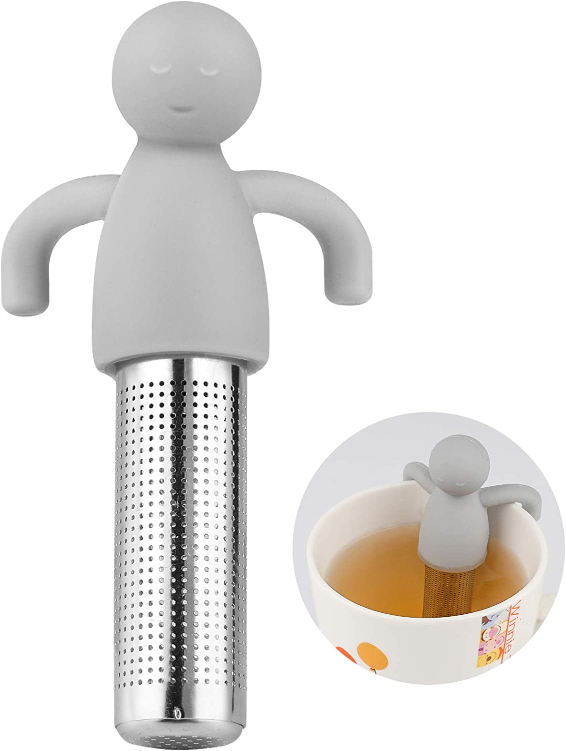 Tea Infuser, Tea Steeper Tea Infusers for Loose Tea, Tea Filter, Made of Food Contact-Grade Silicone and 304 Food-Grade Stainless Steel, Cute Doll Shape, Suitable for Most Teacups, Gray