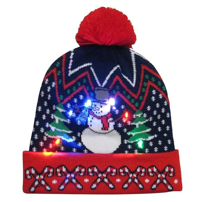 ebb2b67d7586b POLP Mujeres navideña Gorro navideño navideña Sombrero de Navidad Gorros de  Fiesta Accesorios para Fiestas Punto Hat Invierno Regalo Hombre Gorro de  luz LED ...