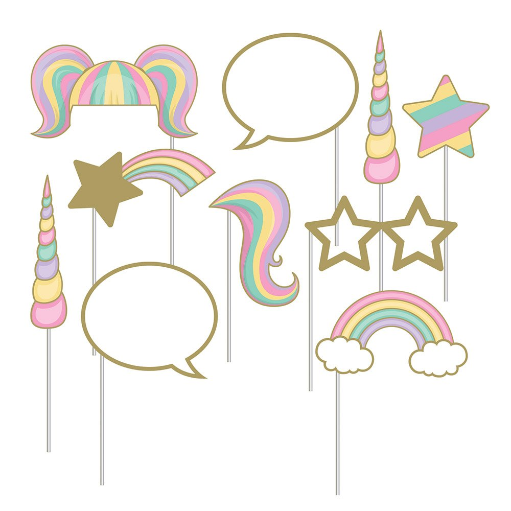 Creative Converting Unicorn Birthday Party Ultimate Bundle Serves 16 Guests: Happy Birthday Banner, Photo Props, Treat Bags, Plates & Napkins, Table Cover and Unicorn Cookie Cutter with Bonus Recipe by Creative Converting (Image #4)