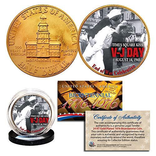 (1976 Bicentennial JFK Half Dollar * WW II V-J DAY * 24K Gold Plated Coin)