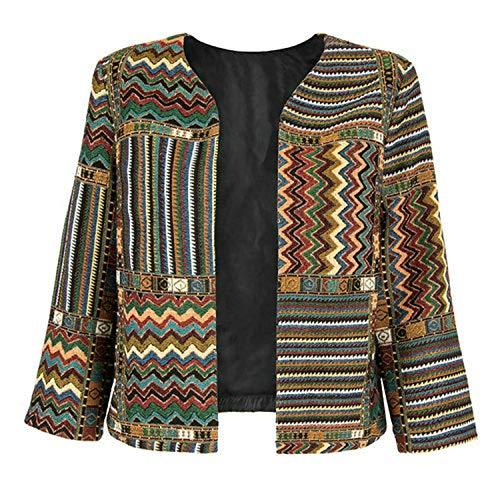 Slim Outwear Tre Coat Front Folk E Striped Cappotti Casual Donna qcScP6apCv
