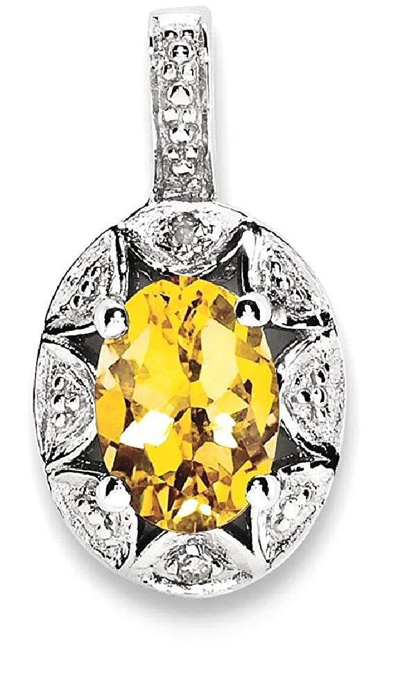 925 Sterling Silver Diamond Yellow Citrine Pendant Charm Necklace Set Birthstone November Fine Jewelry Gifts For Women For Her