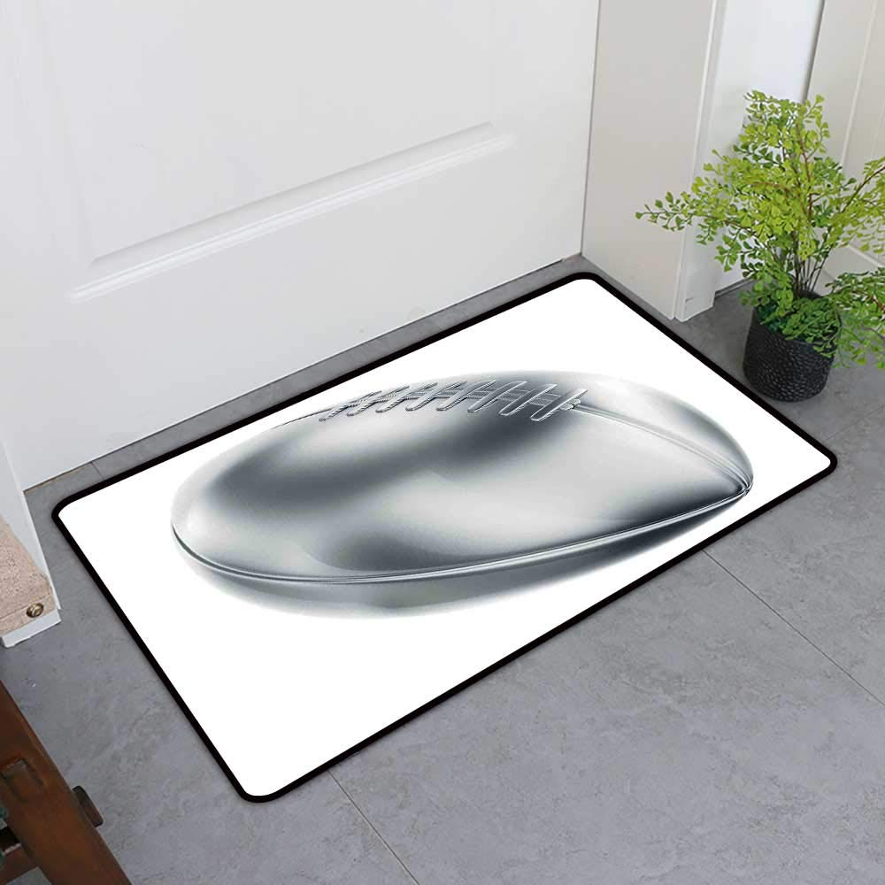TableCovers&Home Scraper Entrance Mat, Grey Non-Slip Mats for Living Room, Realistic American Football in 3D Style Sports Theme Champion Victory Trophy (Gray Pale Grey White_1, H20 x W32)