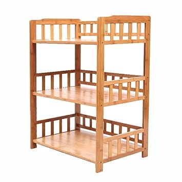 Estantes y soportes para ollas y sartenes HWF Organizador de Cocina Estantes de Almacenamiento Estante de Estante de bambú Multifuncional de pie Libre ...
