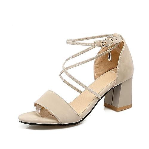 4e61413c1d9 OALEEN Sandales Ouverte Femme Sexy Talons Moyen Lanière Croisé Chaussures  Eté Soirée Beige 32