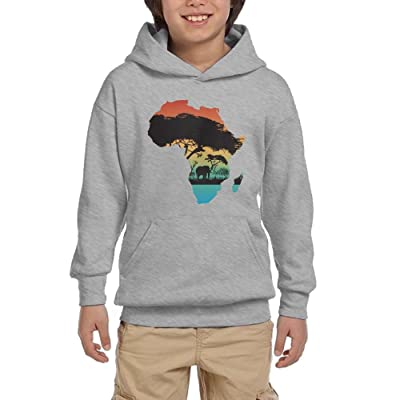 Africa Map Youth Pullover Hoodies Fashion Pockets Sweatsuit