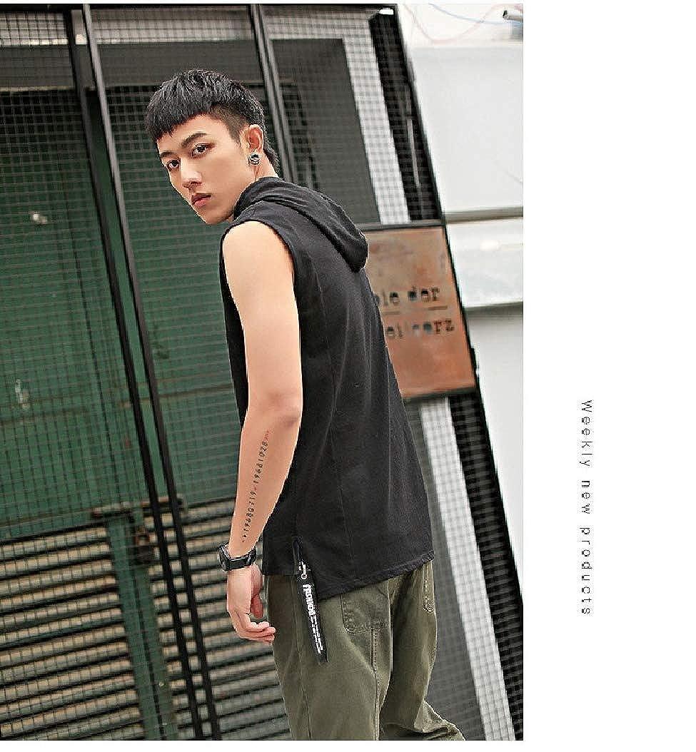 Mfasica Mens Tank Sleeveless Solid Color Hood Plus Size Summer Tees Shirt