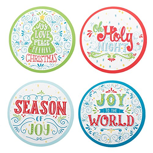 - Christmas Drink Coasters in Assorted Holiday Designs, Round, Set of 8