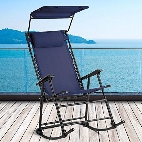 Cheap  Folding Rocking Chair Rocker Porch Zero Gravity Patio Furniture W/Canopy Blue