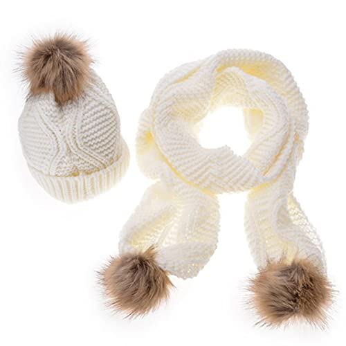 MTTROLI - Set de bufanda, gorro y guantes - para mujer Blanco blanco Talla única