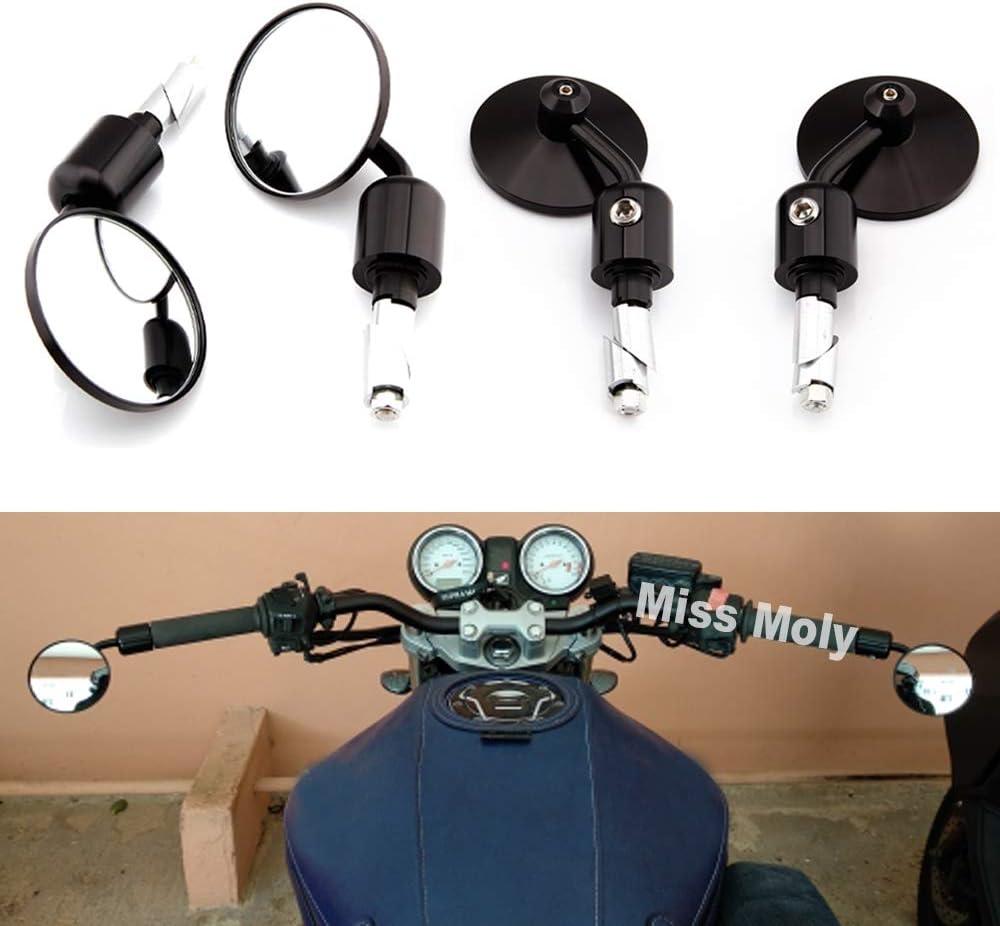 1 par 7//8barra de manillar redonda Espejos retrovisores de aleaci/ón de aluminio Moto motocicleta Sidemirror Universal Espejos retrovisores de motocicleta Azul
