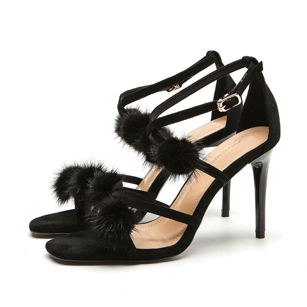 Sandalias Femeninas Zapatos de Tacón Alto Zapatos Hebilla Palabra de Word Lady with Sexy Goddess Correa Verano 39 EU Negro