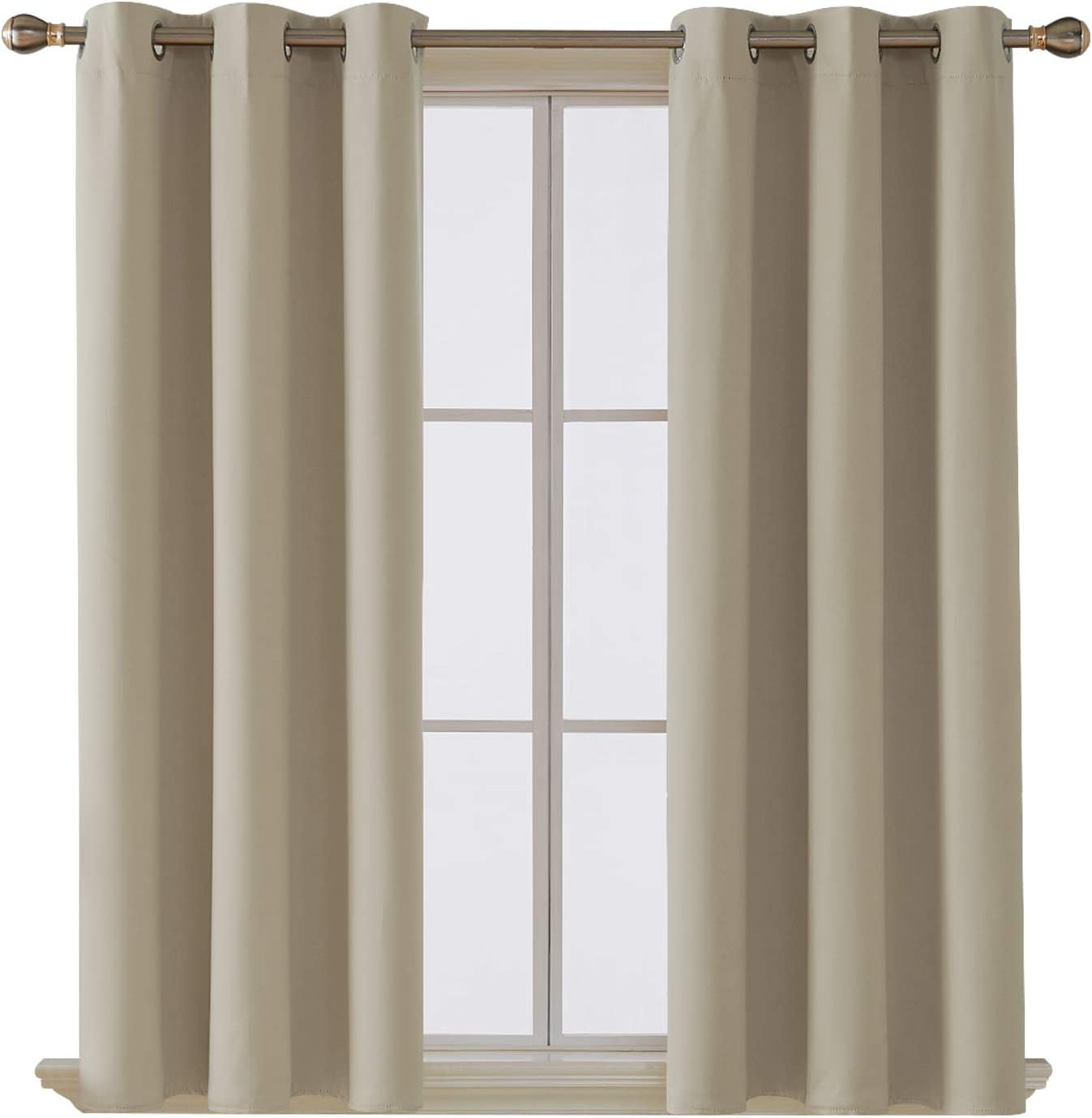 Deconovo Room Darkening Thermal Insulated Blackout Grommet Window Curtain Panel for Living Room, Beige,42x63-Inch,1 Panel