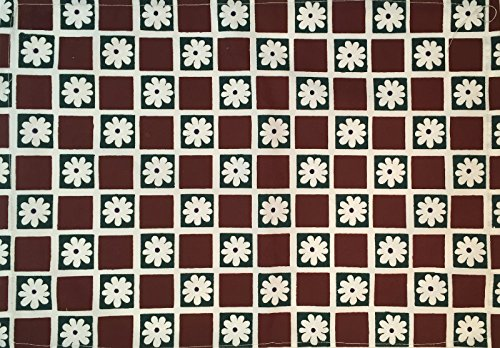 Daisy Checkerboard (Burgundy Daisy Checkerboard Stenciled 100% Cotton Kitchen Table Placemats 13x19