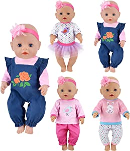 ebuddy 4 Sets Doll Clothes Include Top Skirt Jeans Pants Headband for 18 inch American Girl Dolls, OG dolls/43cm New Born Baby Dolls/15 inch Dolls