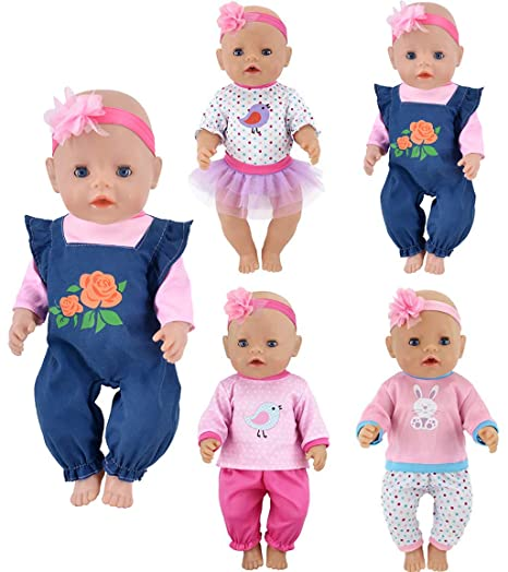 c08d5abc055 ebuddy 4 Sets Doll Clothes Include Top Skirt Jeans Pants Headband for 18  inch American Girl