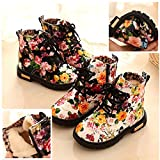 Autumn Winter Toddler Girls Floral Waterproof Rain Boots Martin Boots,Outsta Baby Warm Snow Shoes Sneakers (US:6(Age:18-24M), White(Cotten Lining))