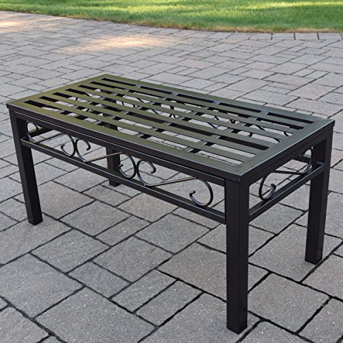 Oakland Living Noble Wrought Iron Patio Coffee Table (For Bench Wrought Sale Iron)